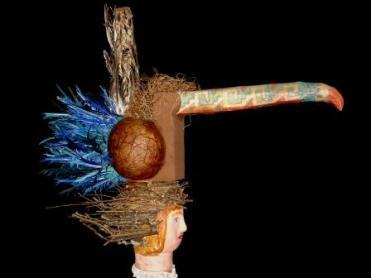 Toucan , marotte et chapeau 90x50x100 cm