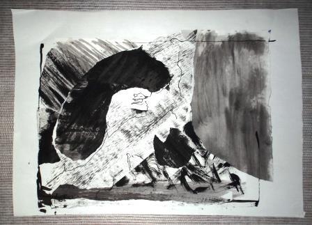 Pierres, collage, craie, encre et lavis